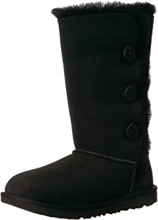 UGG Girls K Bailey Button Triplet II Pull-on Boot, Black, 6 M US Big Kid
