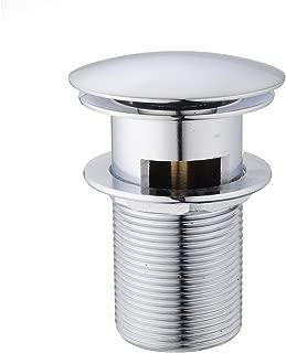 Diseño Pulsador-Tapón, Hapilife Pop-Up Válvula Desagüe Clic-Clac Ranurada para Lavabo, con Rebosadero, Cromado