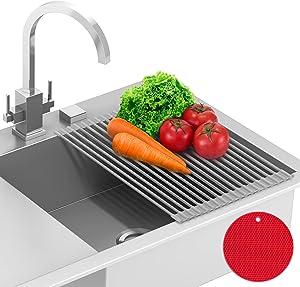 Claev Roll-Up Dish Drying Rack + Bonus Trivet, Over the Sink Multipurpose Dish Rack, Heat-Resistant Anti-Slip Coated w/ Food-Grade Silicone (Gray, 17 x 12.5 inch)