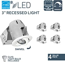 Nadair CP734L-4WH 4 Pack 3in LED Swivel Dimmable Downlight Recessed Light, 3000K Warm White, 4 X GU10 550 Lumens Bulbs Included, IC Rated, White