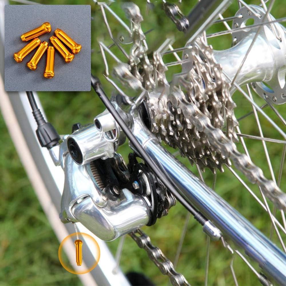 Aluminum Alloy Bike Brake Cable Caps Crimp Ends Wire End Tips Crimps for Road Bike Mountain Bicycle 10 Brake Cable Caps+ 2 Schraeder Valve Caps