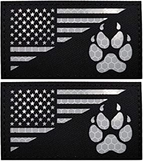 IR K9 Dog Handler Paw K-9 USA Flag Infrared Tactical Morale Embroidered Patch Applique with Hook and Loop Fastener Backing...
