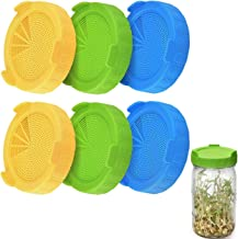 6Pcs Wide Mouth Mason Jars Filter Sprouting Jar Strainer Lid Canning Jars Lids for Making Organic Sprout Seeds Lanthour Plastic Sprouting Lids