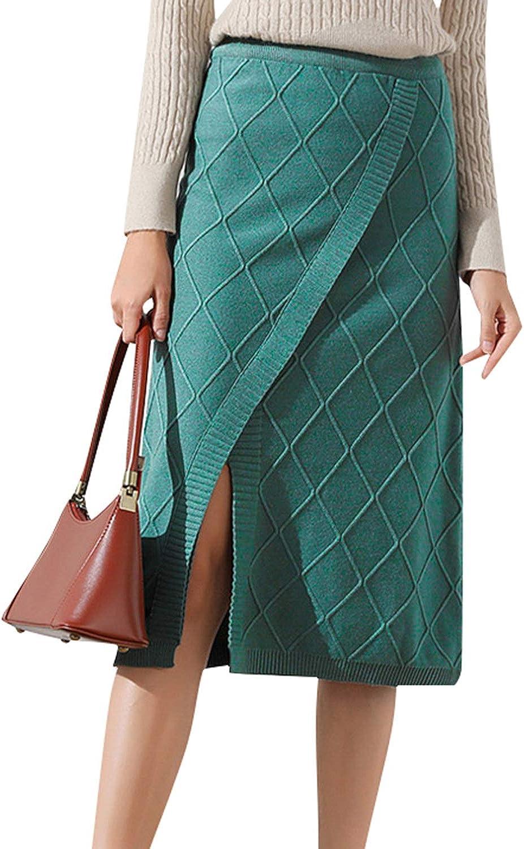 Sollinarry Women's Elegant High Waist Stretch Knit Straight Skirt Midi Pencil Skirt with Slit