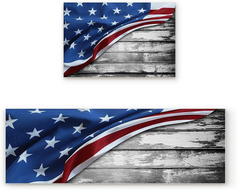 Libaoge Non-Skid Slip Rubber Backing Kitchen Mat Runner Area Rug Doormat Set, Vintage Doormats, USA Flag with Wooden Background Carpet Indoor Floor Mats Door 2 Packs, 23.6 x35.4 +23.6 x70.9