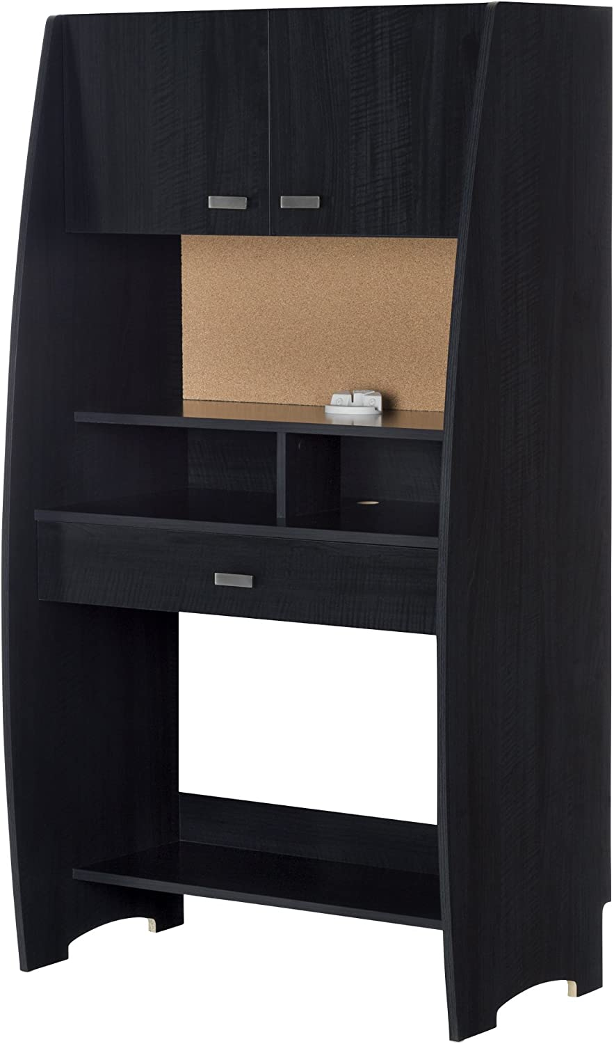 South Shore Furniture Reevo Desk with Hutch and Storage, Black Onyx