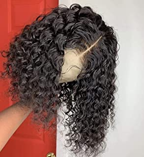 Fyonas Kinkys Curly Lace Wig for Black Women Cut Bob Short Hair Natural Black Color Synthetic Lace Front Wigs Free Wig Caps 14 Inches