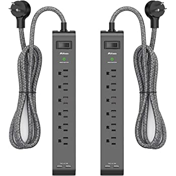 2 Pack Surge Protector Power Strip with 6 Outlets 2 USB Ports, 5-Foot Long Heavy-Duty Braided Extension Cords, Flat Plug, 900 Joules, 15A Circuit Breaker, Wall Mount for Home Office