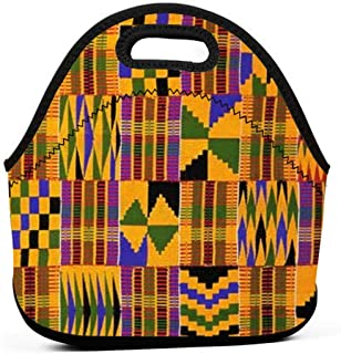Ghana Kente Cloth Lunch Bag Tote Reusable Insulated Waterproof School Picnic Carrying Lunchbox Container Organizer For Men, Women, Adults, Kids, Girls, Boys