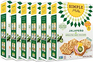 Simple Mills Sprouted Seed Crackers, Jalapeno, 4.25 oz, 6 count