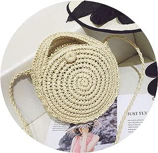 Round Straw Beach Bag Vintage Handmade Woven Shoulder Bag Raffia circle Rattan bags