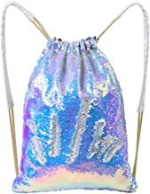 MHJY Mermaid Sequin Bag,Sparkly Sequin Drawstring Backpack Glitter Sports Dance Bag Shiny Travel Backpack