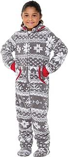 Big Girls' Hoodie-Footie Fleece Onesie Pajamas