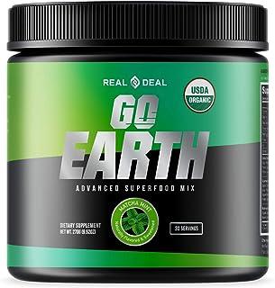 GO Earth | Organic Greens Superfood Supplement Powder | Mushroom + Spirulina Infused | Supports Digestion + Gut Health | B...