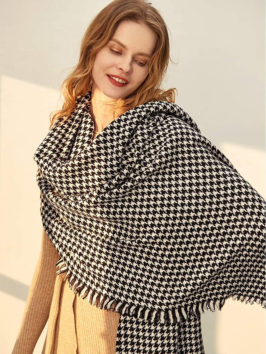 JINGB Home Spring and Autumn Pure Scarf Women's Summer Air Conditioning Shawl Dualuse Classic Houndstooth British Wind