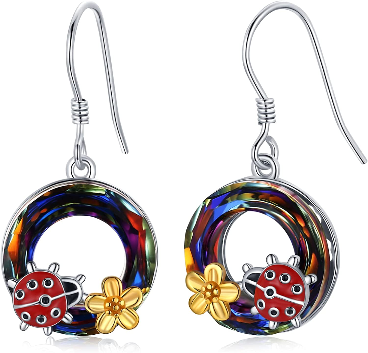 Ladybug Dangle Now on sale Earrings 925 Silver Sterling Daisy Trust Cryst