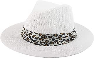 Melesh Sun Straw Wide Brim Beach Summer Fedora Classic Panama Hat