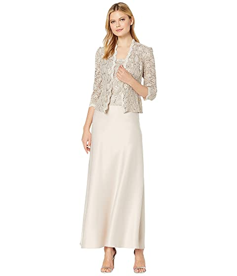 65aee4bf200 Alex Evenings Long A-Line Sequin Lace Mock Jacket Dress at Zappos.com