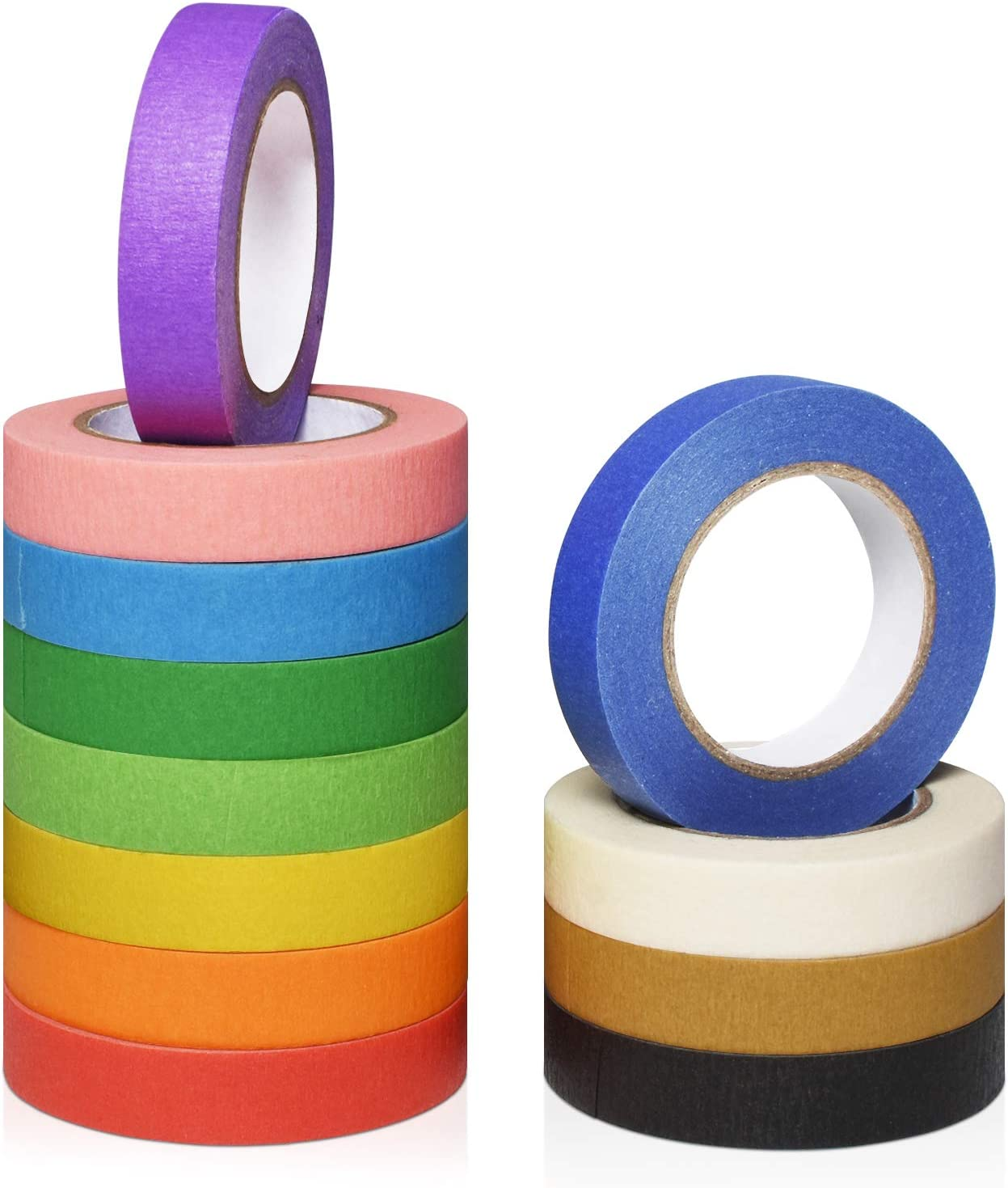 Cualfec Max 51% mart OFF 12 Rolls Masking Tape 1 inch Painters Tapes 2 Wide Color