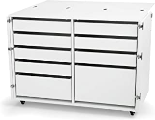 Arrow K7911 Dingo II Kangaroo 9 Drawer Storage Cabinet for Sewing and Crafts, Portable with Wheels, White Ash Finish