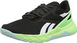 Reebok Nanoflex TR Two-Tone Mesh Textile Lace-up Sneakers for Women - Core Black and Neon Mint, 36 EU