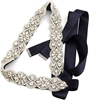 Yanstar Handmade Wedding Belt Bridal Belts and Sashes Crystal Rhinestone Ribbon Belt for Wedding Dress Bridesmaid Prom Gowns