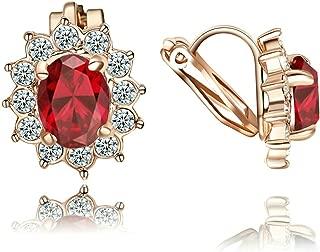 Yoursfs femme Ensemble bijoux18k plaqu/é Or rose Carr/é Rubis Bague Collier Boucles doreilles clous pour Parures de Femme(Bague,50)