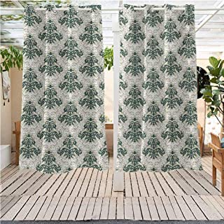 DONEECKL Victorian Pure Outdoor Curtains Floral Ornamental Western Traditional Artwork Foliage Timeless Fashion Energy Efficient, Room Darkening W72 x L84 inch Jade Green Warm Taupe