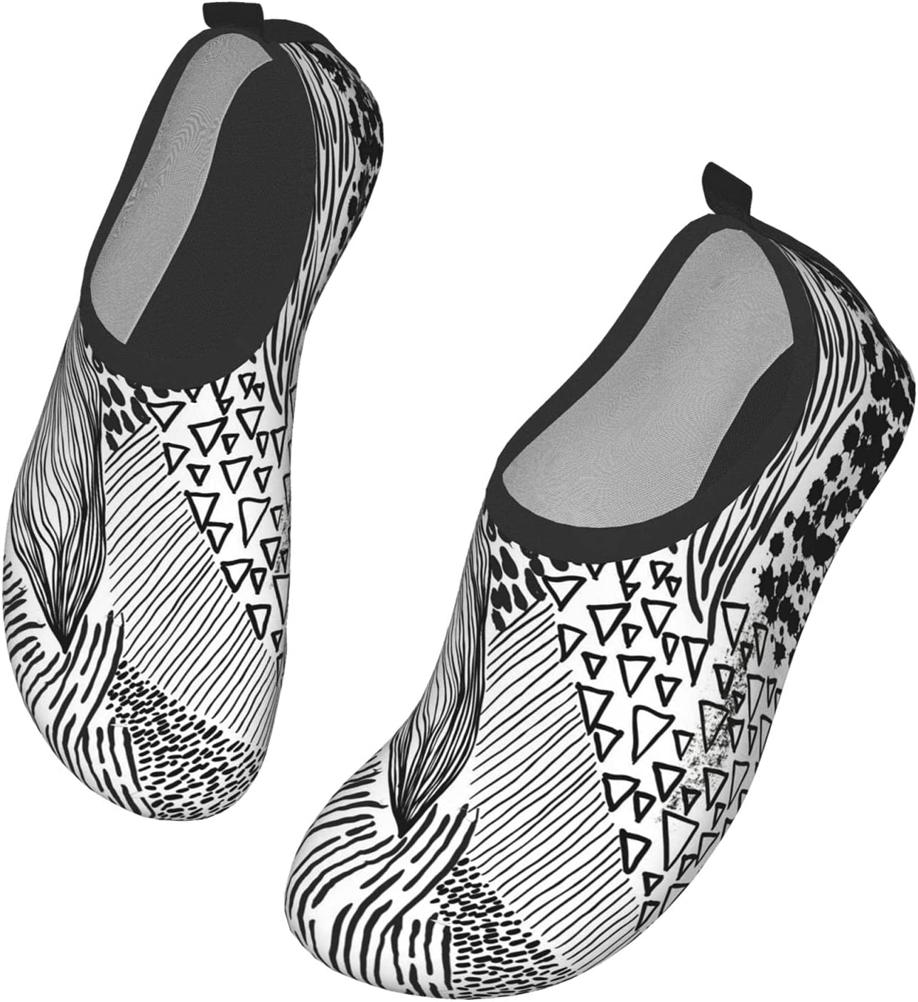 NA Black and White Scribble Men's Women's Water Shoes Barefoot Quick Dry Slip-On Aqua Socks for Yoga Beach Sports Swim Surf