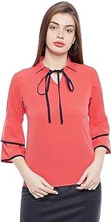 AASK Women's Pink Color Plain Crepe Top (AK_4100)