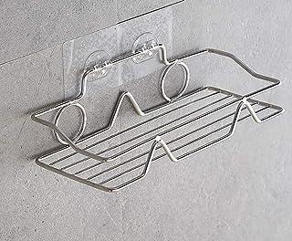 THUS シャワーキャディバスケットシェルフ フック付き カミソリとスポンジを掛ける バスルームシェルフ キッチンラック ドリル不要の接着剤 ステンレススチールストレージオーガナイザー