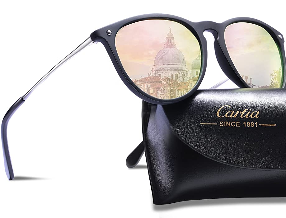 Carfia Vintage Polarized Sunglasses for Women Classic Designer Style 100% UV400 Protection