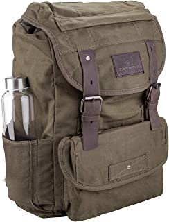 Waterproof Waxed Canvas Backpack for Men Travel Rucksack Leather T