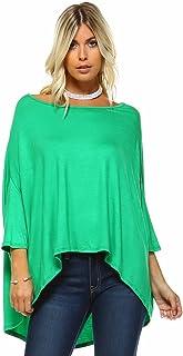 قميص فضفاض واسع واسع واسع واسع واسع واسع من Isaac Liev للنساء بأكمام جناح وطواط من الكتف