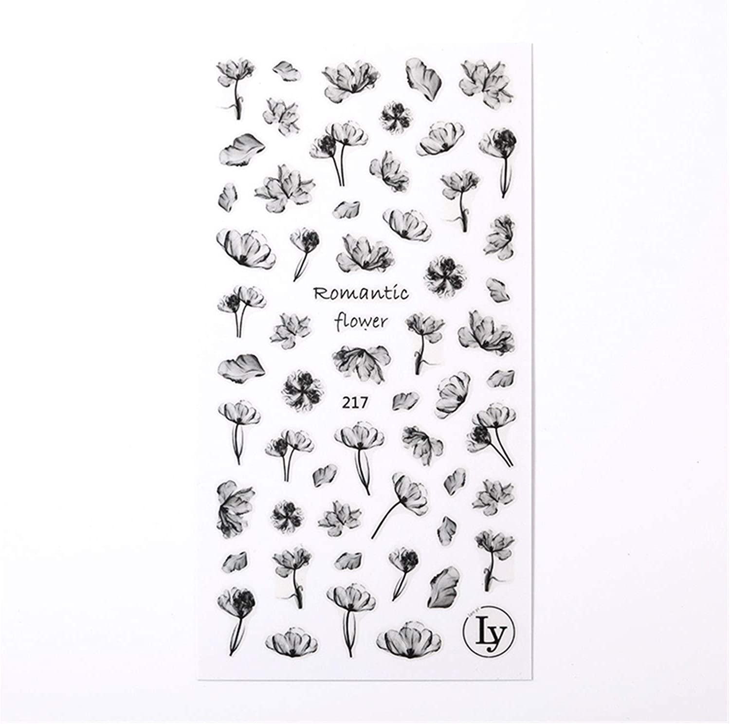 JIANGFBH Nail Sticker 1 Sheet Black S Art OFFicial shop Our shop most popular 3D White Stickers