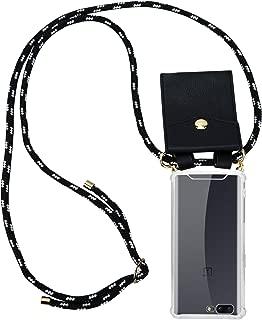 Cadorabo Funda con Cuerda para OnePlus 5 en Negro Plata – Cubierta Protección Collar para Colgar di TPU Silicona Transparente con Anillos OROS, Cordon y Estuche Removible