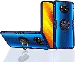 Poco X3 Nfc ケース [360°キックスタンド] ソフトTPUボーダー [透明アクリル] 落下 衝撃 吸収 カバー・ Xiaomi Poco X3 Nfc 用 (Poco X3 NFC, 青)