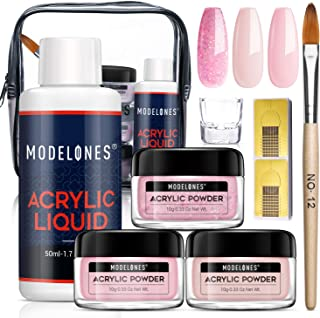 Modelones Acrylic Powder and Liquid Set Pink Acrylic Nail Starter Kit with Professional Acrylic Nail Brush & Liquid Monome...