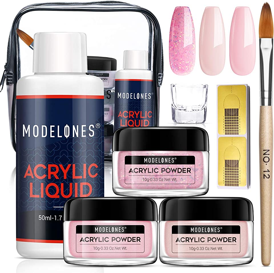 Modelones Acrylic Powder and Liquid Set - Professional Acrylic Liquid Monomer Dip Powder System for Nail Extension Glitter Pink Nail Powder Kit, Nail Brush, Acrylic Nail Kits Full Set for Beginners