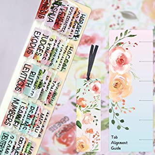 Floral Bible Tabs 90 Decorative Bible Tabs Laminated Colorful Bible Book Indexing Tabs Old and New Testament Laminated Mat...