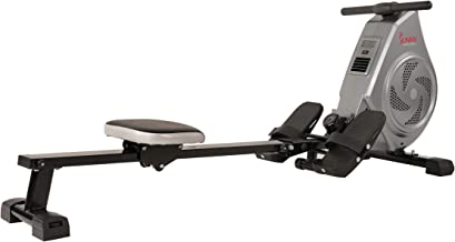 Sunny Health & Fitness Air Magnetic Rowing Machine Rower, Performance Monitor with Tablet Holder and Cushion/Padded Seat
