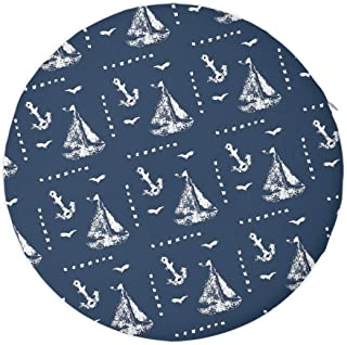 NiYoung Round Memory Foam Chair Pad, 16 Inches Soft Seat Cushion Drawing Sailboat and Anchor, Non-Slip Butt Chair Pads with Zipper Removable Cover for Patio Garden Stools/Floor Seat