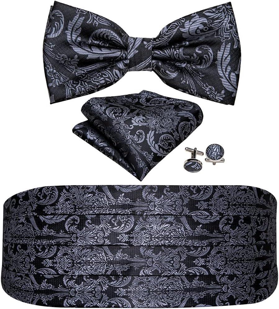 ZYKBB Silk Tuxedo Men's Cummerbund Bow Tie Pocket Square Set Black Formal Wide Elastic Belt For Men Wedding Party (Color : A, Size : One size)