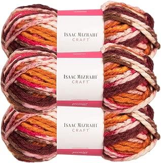 Premier Yarns (3 Pack Isaac Mizrahi Lexington Acrylic & Wool Soft Gramercy Park Pink Orange White Yarn for Knitting Crocheting #6 Super Bulky