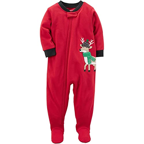 16000e2d3 Carter's Baby Boys' 1 Pc Fleece Footed Pajama (5T, Red/Black Reindeer