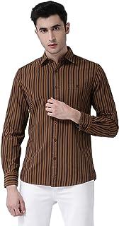 Crimsoune Club Mens Brown Striped Shirt