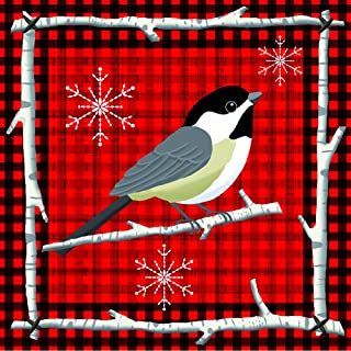 Paperproducts Design 3331067 Luncheon Paper Holiday Napkin, Red, 6.5 by 6.5-Inch, Lodge Bird