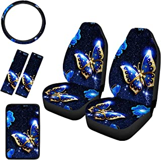 Cozeyat Blue Diamond Butterfly Car Seat Protector Cover Steering Wheel Cover Car Armrest Protector Soft Car Seat Belt Pad ...
