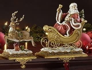 Roman Set of 2 Joseph's Studio Santa Claus and Reindeer Christmas Stocking Holders 9.5