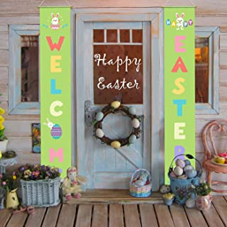 WEBSUN Easter Porch Sign - Easter Decorations Indoor Outdoor - Happy Easter & Welcome Banner - Easter Hanging Decor for Home Wall Door Front Yard